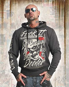 Drug Dealer Hoodie Dark Grey Melange