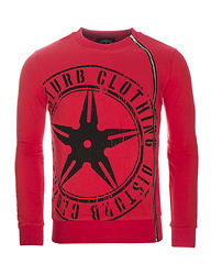 Throwing Star Zip Sweater Red