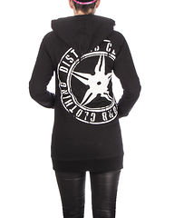 Throwing Star Women Hoodie V2 Black/White