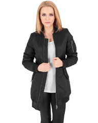Ladies Long Bomber Black