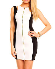 Brea Dress White/black