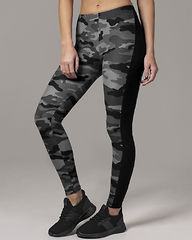 Ladies Grey Camo Stripe Leggings
