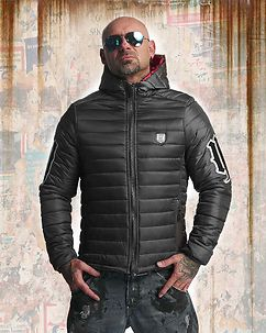 Eight Hooded Quilted Jacket Black