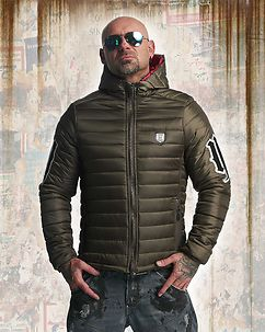 Eight Hooded Quilted Jacket Olive Green
