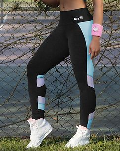 Rose Leggings Black/Aqua