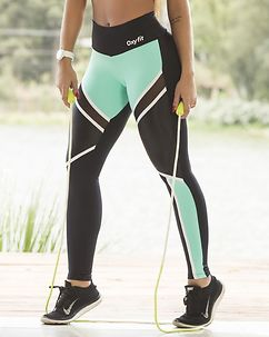 Ease Leggings Black/Turquoise