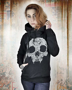 Velvet Skull Hoodie Black