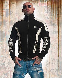 Skull Track Zip Sweater Black