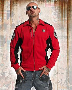 Cross Bones Zip Sweater Red