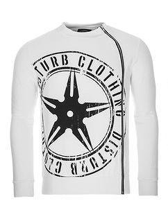 Throwing Star Zip Sweater White