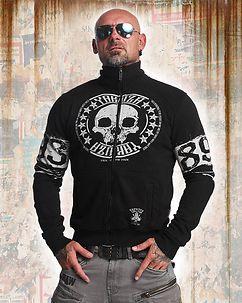 Skull Label Zipper Black
