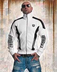 Skull Track Zip Sweater White